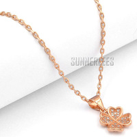 Free Shipping NEW Fashion Jewelry Women Girls 4 Leaf Lucky Clover w CZ 18K Rose Gold Filled Pendant Necklace Optional Chain P42R