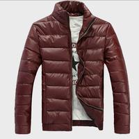 2015 New Winter Men PU leather jacket men coat Thick warm men coat