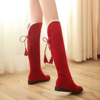 Flat wedges snow boots female maternity over-the-knee boots 2014 new winter cotton women's shoes,4 colors, plus size 34-43