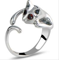 Hot sale !! fashion high quality shinny polished rhinestone eyes adorable opening cat ring