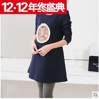 Autumn and winter maternity clothing maternity 100% cotton drawstring print one-piece dress maternity dress