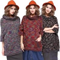 New Ladies Casual Loose 3/4 Sleeve Turtleneck Sweater Women Fashion Elegant Knitted Pullovers Winter Warm Woolen Sweaters Black