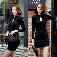 Hot Sale! 2015 New Women Casual Dresses Sexy Stand-Neck 4 Sizes long Sleeve Autumn winter  Dress free shipping