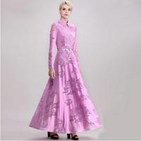 Free Shipping 2014 new arrival women's long design one-piece dress female flower jacquard plus size lace cute maxi dress S-XXXL