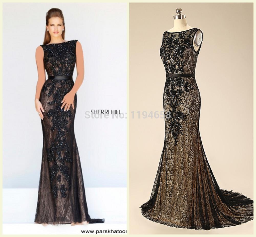 2014 Sexy Lady especial ocasião Real fotos cristais Black Lace longo vestido de festa Pageant vestidos(China (Mainland))