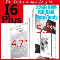 """Fingerprint Metal body 3G 2GB RAM phone 6 phone 5.5""""/4.7'' MTK6582 1GB RAM 32GB ROM I6 plus Mobile phones 1280*720 Smartphone"""