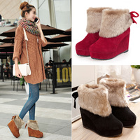 Snow boots autumn and winter high-heeled platform wedge boots fur boots platform boots shoes