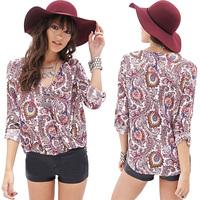 Women Blouses Paisley Pattern Printed V-Neck Long Sleeve Asymmetrical Hem Loose Fashion Chiffon Tops Six Size Plus Size D673