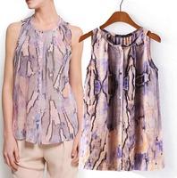 2015 European Style Women Shirt O-neck Serpentine Slim Sleeveless Chiffon Summer T-Shirt Famous Brand Tops Blouse CL2250