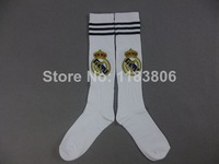 Thai quality 3a Youth soccer socks.Kids Real Madrid home white soccer sock.2014 Real Madrid Youth soccer sock,Mix order