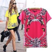2015Casual European Style Women T-shirt  Printing O-neck Summer Short Sleeve Cotton Blend  Shirt Famous Brand Tops Blouse C2193
