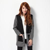 2015  fashion houndstooth spring coat women's trench designer clothing brand black block cardigan printing long coat woman