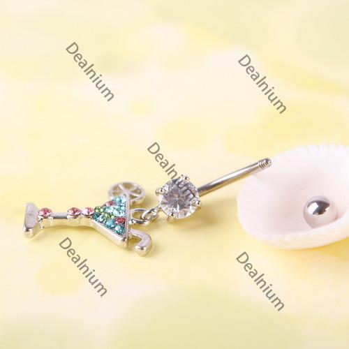 microbid Eco friendly Multicolour Martini Glass Dangle Rhinestone Navel Belly Button Body Piercing 02 Premium