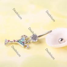 microbid Eco-friendly Multicolour Martini Glass Dangle Rhinestone Navel Belly Button Body Piercing 02 Premium!