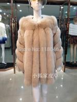 Winter Import Finland genuien real fox fur coat jacket for elegant women luxury female furs coats jackets big overcoat parka