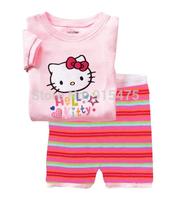 T0133 2015 New design 100% Cotton Children's wear ,Baby short sleeve pajamas,Kids pyjamas boys girls sleepwear set 6set/lot