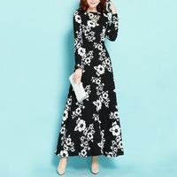 Twods 2015 autumn winter women long cotton/linen dress warm fur lining whiter floral print black maxi dress long sleeve female