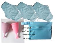 Free Shipping 3 pcs Cloth Menstrual Pads +2 pcs Menstrual Cup+1 Storage bag