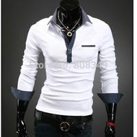 New!! Korean style Mens turn-down collar slim fit long sleeves T-shirt