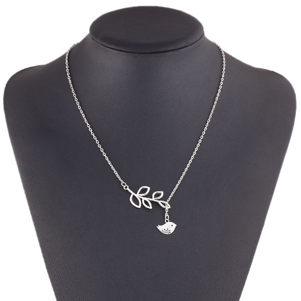 New hot sale Fashion Charm Punk Leaf Birds Pendants Necklace Alloy Chain choker necklace statement jewelry for women 2014 PD23(China (Mainland))