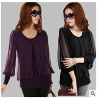 New fashion large size women chiffon shirt sleeve plus size women lovely shirt free shipping