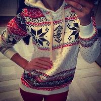 2014 Winter Casual Women Hoodie Christmas Snowflake Jumper Hooded Sweatshirt Top Casual  Pullovers Sweatshirts