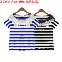 Fashion Clothing 2014 Summer Lace Women T shirt Embroidery Striped Short Sleeve T-shirt European Causal Street roupas femininas