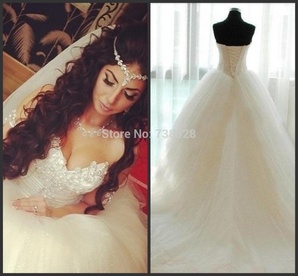 2015 Vestido De Noiva Romantic Wedding Dress Sexy Long White Sweetheart Tulle Wedding Dresses Bridal Gowns Custom Make (China (Mainland))