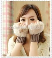 12pair/lot  Winter Warm Imitation Rabbit Faux Fur Women Gloves Knitted Patchwork Waist Gloves half Finger Gloves Free shipping