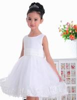 Super Cute Flower Lace Princess Dress Girls wedding dresses Children's clothes Bow Zipper Covered Button
