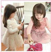 2014 Free Shipping Fashion Spring&Winter Girls Children Cute Dress for Baby kids Cotton Floral Dress Children Princess Dress