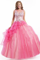 Custom Made 2015 New Cute Tank Sleeveless Colorful Pink Fuchsia Princess Quinceanera Dresses Ball Gowns Girls Prom Dresses ZY040