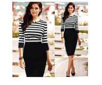 Free Shipping Spring 2015 Fashion New Long Sleeve O-neck Sexy Elegant Knee-length One-piece Fashion Striped Pencil dress