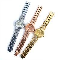 New Women Lady Luxury Gold Crystal Quartz Watch Rhinestone Crystal Wrist Watches