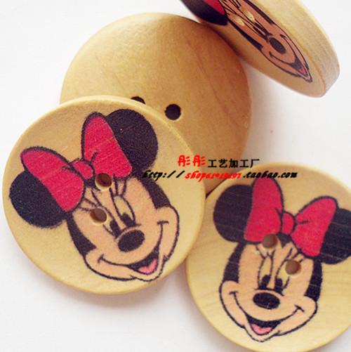Min . ordem é de r $18 B0271 30 mm 2 furos do mouse minnie botões de madeira pintadas bonito botões artesanais de madeira artesanais / crianças(China (Mainland))