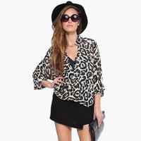 European Style Women Blouses Fashion Leopard Printed Asymmetrical Hem Stand Collar Transparent Loose Chiffon Tops Plus Size D664
