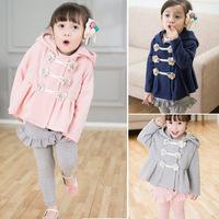 Free Shipping Girls Outerwear Coats New 2014 Children Fashion Cotton Kids Winter Flower Jacket Thick Warm Cotton Coat