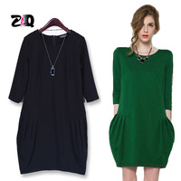 2015 Spring New Fat Women Casual Bud Dress Large Size XXXL European Style Loose Lady Dress 115
