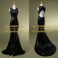 2015 Exquisite Mermaid Evening Dress 2014 In stock 100% Real Pictures Fashion High Neck with Sequins Long Evening Dress ZY4061
