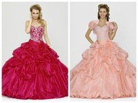 2015 Taffeta Quinceanera Dresses with Jacket Pink Fuchsia Sweetheart Sleeveless Floor Length Draped Crystal Ball Gown zy042