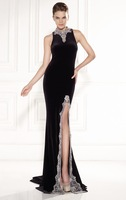2015 New Arrival Simple Elegant Sheath Floor-Length Prom Dress Off the Shoulder High Collar With Beading Evening Dress zy1036