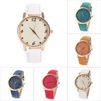 New Vintage Women's Denim Cloth Round Dial Wrist Watches Analog Quartz Watches New