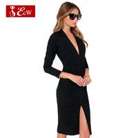 ECW 2015 Women Evening Dress V-Neck Sexy Dress Party Dresses Fashion Slim Vestidos Femininos