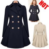 2014 Women Coat autumn Winter Woolen Long Sleeve Overcoat Trench Desigual Woolen warm slim Coat Casacos Femininos Jacket