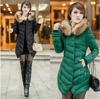 New 2014 Fashion Parkas Winter Female Down Jacket Women Winter warm Coat Slim Overcoat Parka fur coat long cotton-padded clothe