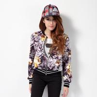 Baseball jackets women clothing fashion girls  zippered baseball uniform tropical floral autumn jacket short  mulheres jaquetas