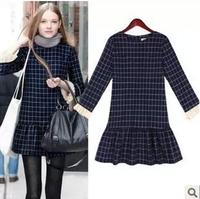 2014-2015 new arrival spring autumn women fashion plus size Euro America style slim vintage Tartan casual dress free shipping
