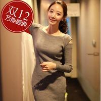 New arrival 2014 Long Sleeve Dresses Women Korean fashion Slim Sexy striped mini casual lady's dress free shipping