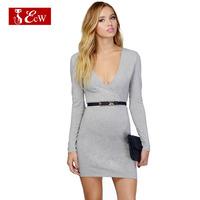 ECW NEW 2015 Women Evening Dress  Fashion V-Neck Slim Bandage Dress European Style With Blet Sexy Dress Business Wear