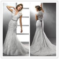 Hot Selling Wedding Dresses Cap Sleeves Organza Appliques Trumpet/Mermaid V Neck Court Train zy1170